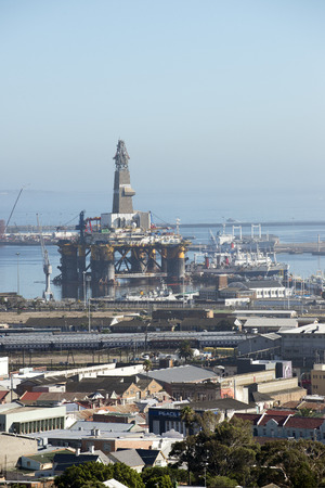 subsea: oil rig support semi submersible vessel  Port of Cape Town South Africa Editorial