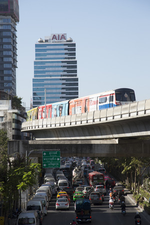 silom: Mass transit skytrain above Silom Road in Bangkok, Thailand Editorial