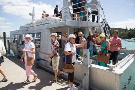 disembark: Ferry passengers disembark at Russell New Zealand Editorial