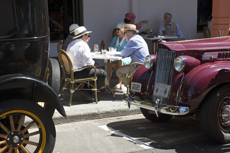 Art Deco weekend in Napier New Zealand visitors dining and classic cars