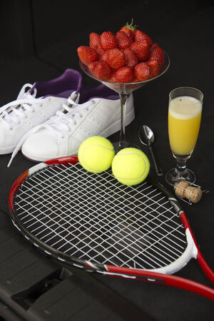 fizz: Tennis and strawberries with a glass of fizz