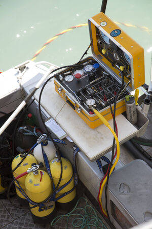 Air supply and control equipment for a commercial diver
