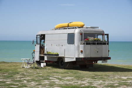 Camperhome overlooking the Pacifice Ocean at Te Awanga in Hawkes Bay region New Zealand