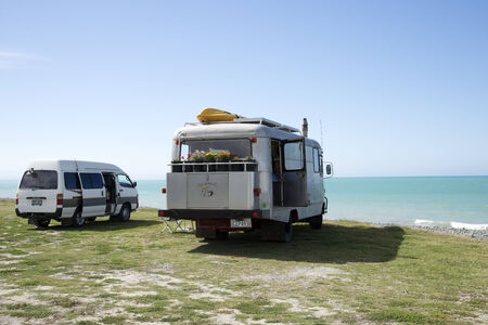 camping pitch: Camperhome overlooking the Pacifice Ocean at Te Awanga in Hawkes Bay region New Zealand
