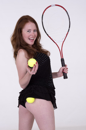 knickers: Tennis player in black dress and balls in her knickers