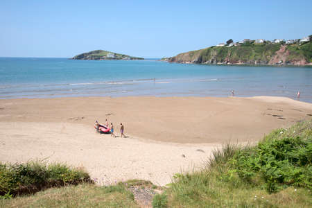 burgh: Bantham Beach looking towards Burgh Island and Bigbury on Sea South Devon England UK