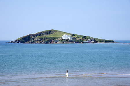 burgh: Bantham Beach looking towards Burgh Island South Devon England UK