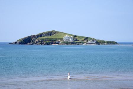 burgh: Bantham Beach looking towards Burgh Island South Devon England UK