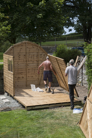 erecting: Erecting a new garden shed