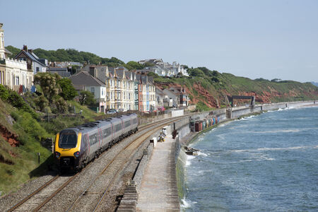 Cross country service passenger train at Dawlish Devon UK Stock Photo