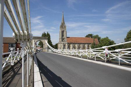 Marlow Bridge a suspension bridge which crosses the River Thames Buckinghamshire UK photo