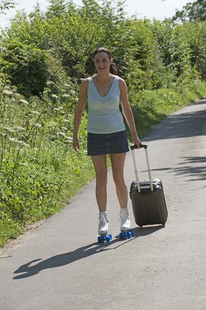 quad: Woman skating on quad skates