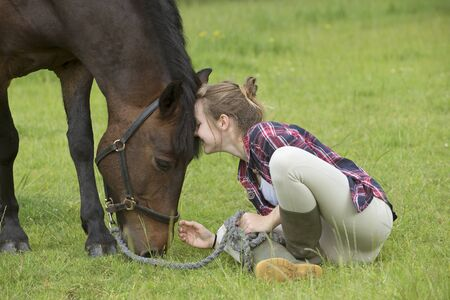 Young girl with her pony, Stock Photo