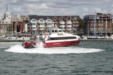 Red Jet 3 passenger ferry departing Port of Southampton bound for the Isle of Wight Editorial