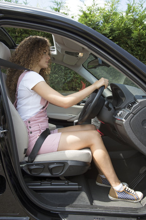 Good posture and driving position Stock Photo