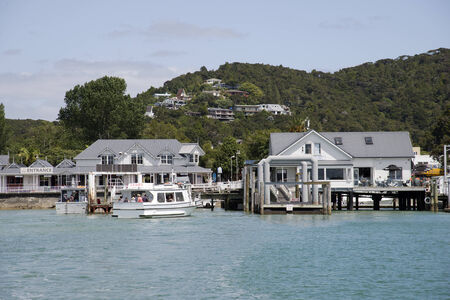 literas: Edificio Mar�tima y muelle de Paihia Bay of Islands Nueva Zelanda