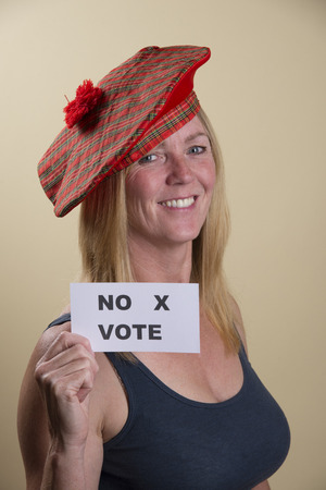 tammy: Scottish Referendum No vote from this female voter Stock Photo