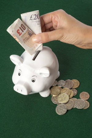 Piggy Bank with banknotes and coins photo
