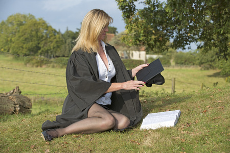 Mature University student studying photo