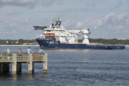 subsea: Rem Installer a multipurpose subsea ship underway on Pensacola Bay Florida USA
