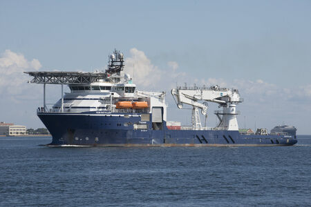 subsea: Rem Installer a multipurpose subsea ship underway on Pensacola Bay Florida USA