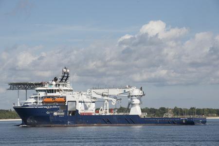 installer: Rem Installer a multipurpose subsea ship underway on Pensacola Bay Florida USA