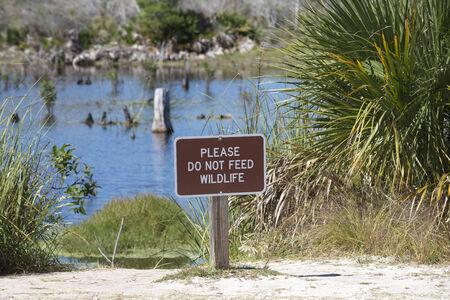 Warning sign Do Not Feed Wildlife USA 免版税图像