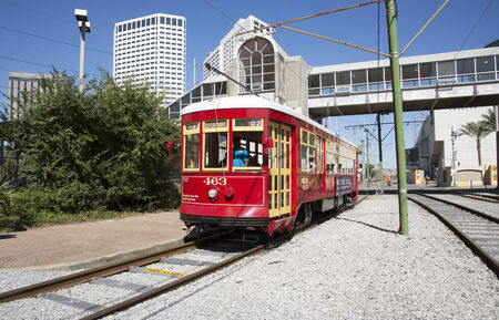 riverfront: Riverfront streetcar on the Moon Walk New Orleans USA