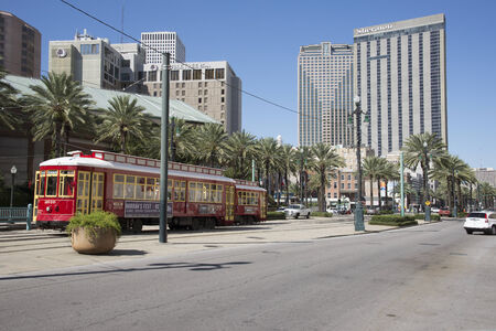 canal street: Riverfront streetcar on Canal Street New Orleans city centre USA