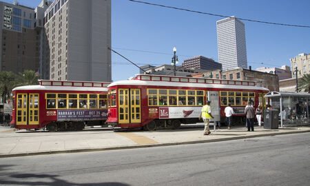 riverfront: Riverfront streetcar on Canal Street New Orleans city centre USA