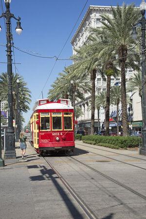 streetcar: Streetcar on Canal Street New Orleans USA