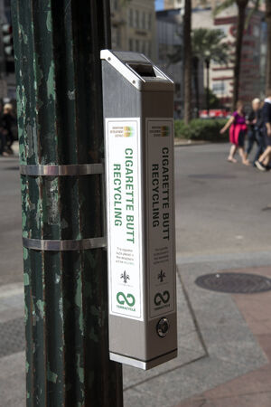 lampost: Cigarette butt recycle bin on a lampost
