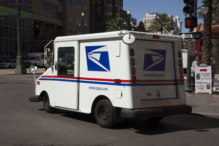 united states postal service: USPS mail van in New Orleans Editorial