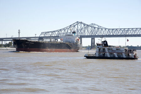 Mississippi River New Orleans USA Maersk Matsuyama and the Canal Strret ferry