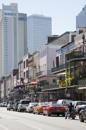 french quarter: Famous Decatur Street in the French Quarter New Orleans USA