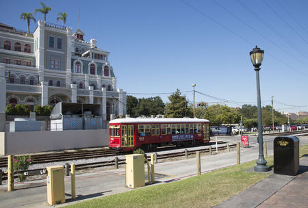 riverfront: Riverfront streetcar at Toulouse Street station New Orleans USA Editorial