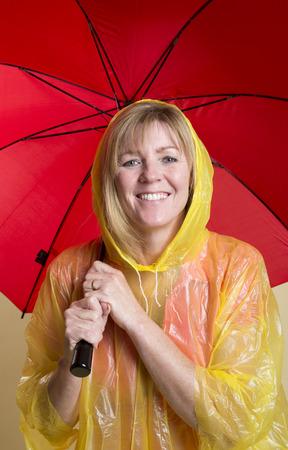rainwear: Rain check woman in yellow poncho