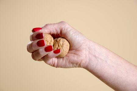 Walnuts in a womans hand being crushed photo