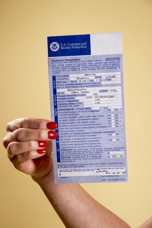 declaration: Customs declaration form Editorial