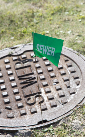 sewer: Sewer marker green flag