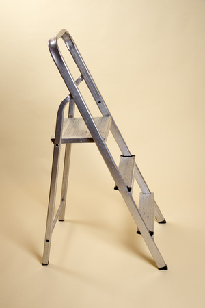 rungs: Small stepladder in the open position