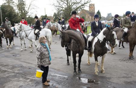 earlier: Kimblewick Hunt meeting at Mortimer near Reading England UK earlier today Saturday 27 December 2014 Editorial