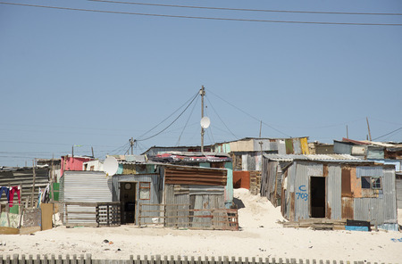Township homes on the roadside Cape Town South Africa