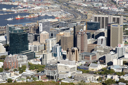 Cape Town city centre buildings and dock area South Africa Editorial
