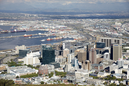 city centre: Cape Town city centre buildings and dock area South Africa Editorial