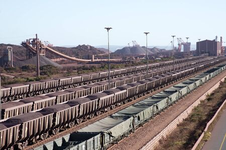 Iron Ore on railway wagons Salanaha Bay Terminal South Africa