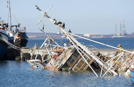 sunken boat: Danger to shipping a sunken fishing boat