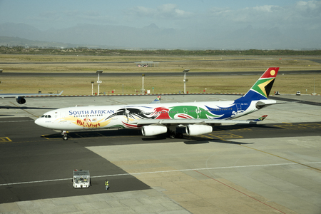 SAA jet painted in Olympic games logo Editorial