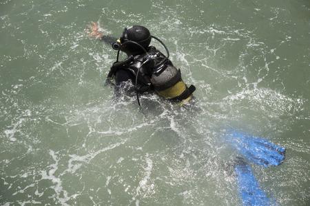 deep sea diver: Deep sea diver training Gordons Bay South Africa