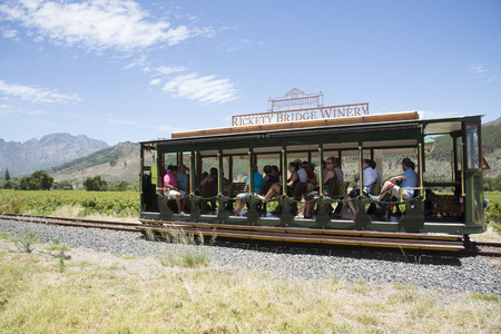 rickety: Wine tram ride through vineyards at Franschhoek Western Cape South Africa